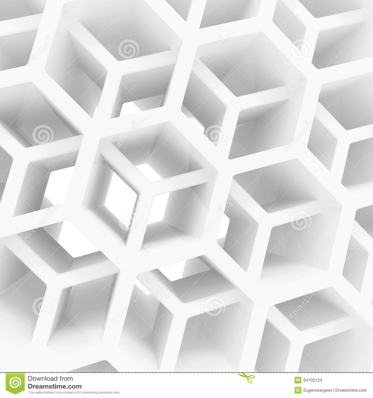 Abstract 3d background with white honeycomb stock for Wallpaper 3d white