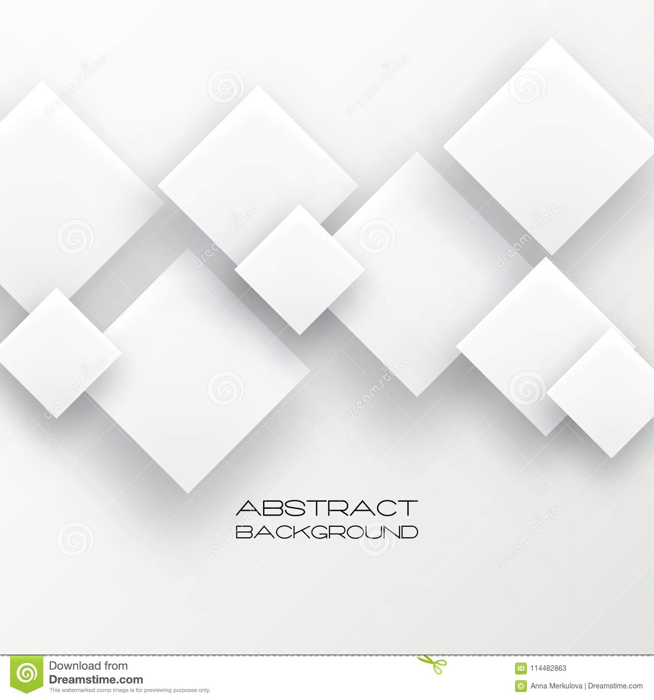abstract 3d background with white paper geometric shapes stock