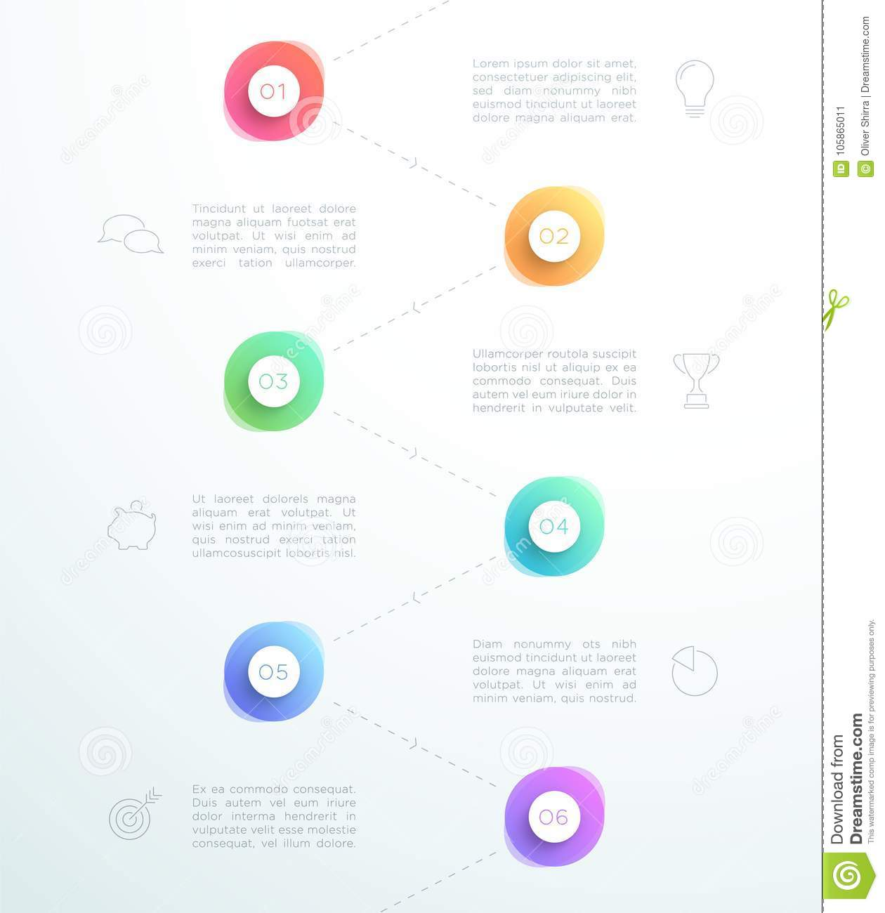 Abstract 3d Circles Number 1 To 6 Infographic Layout Vector