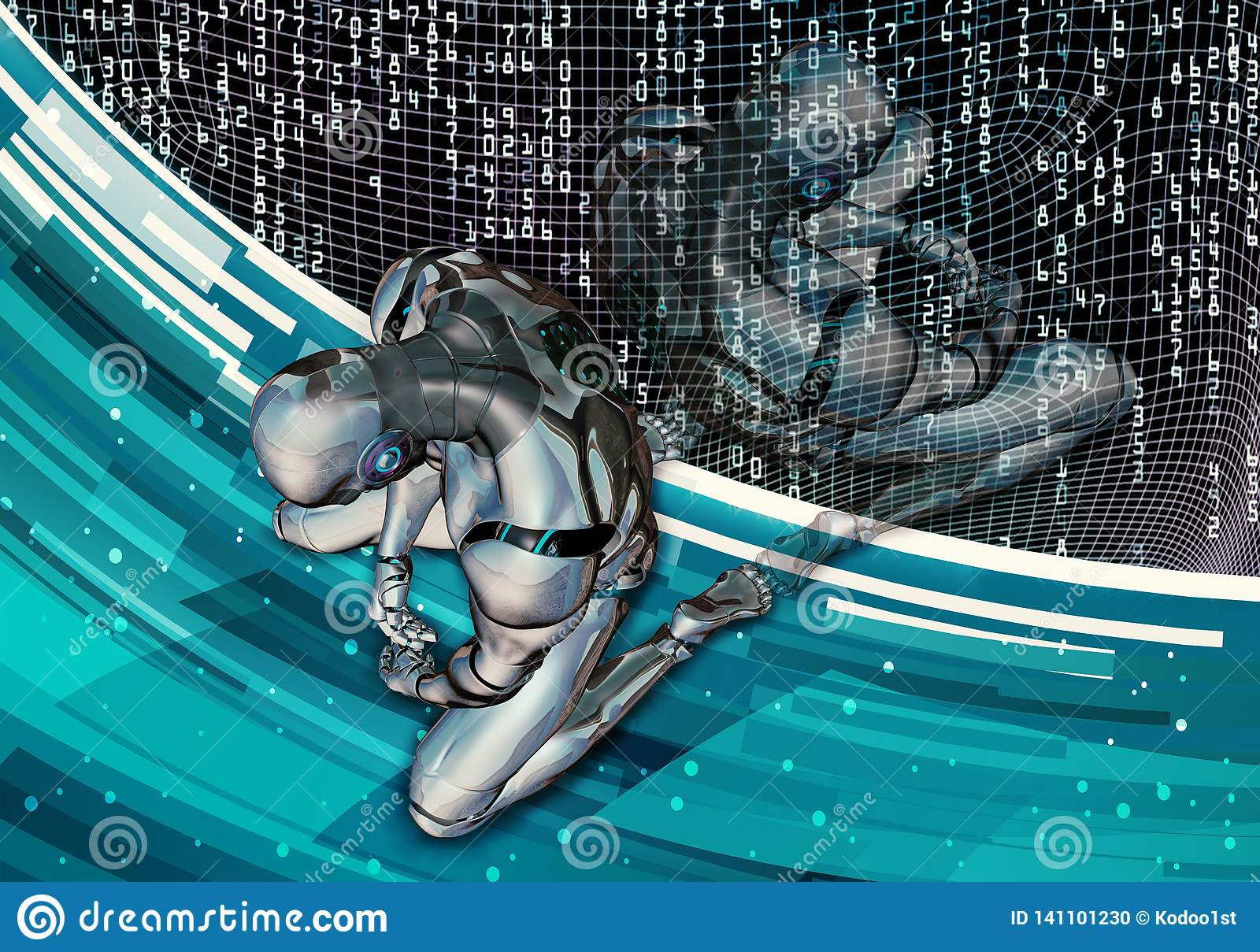 Abstract Artistic 3d Computer Generated Illustration Of A Depressed Artificial Intelligent Man Setting In Defeat On A Modern Data