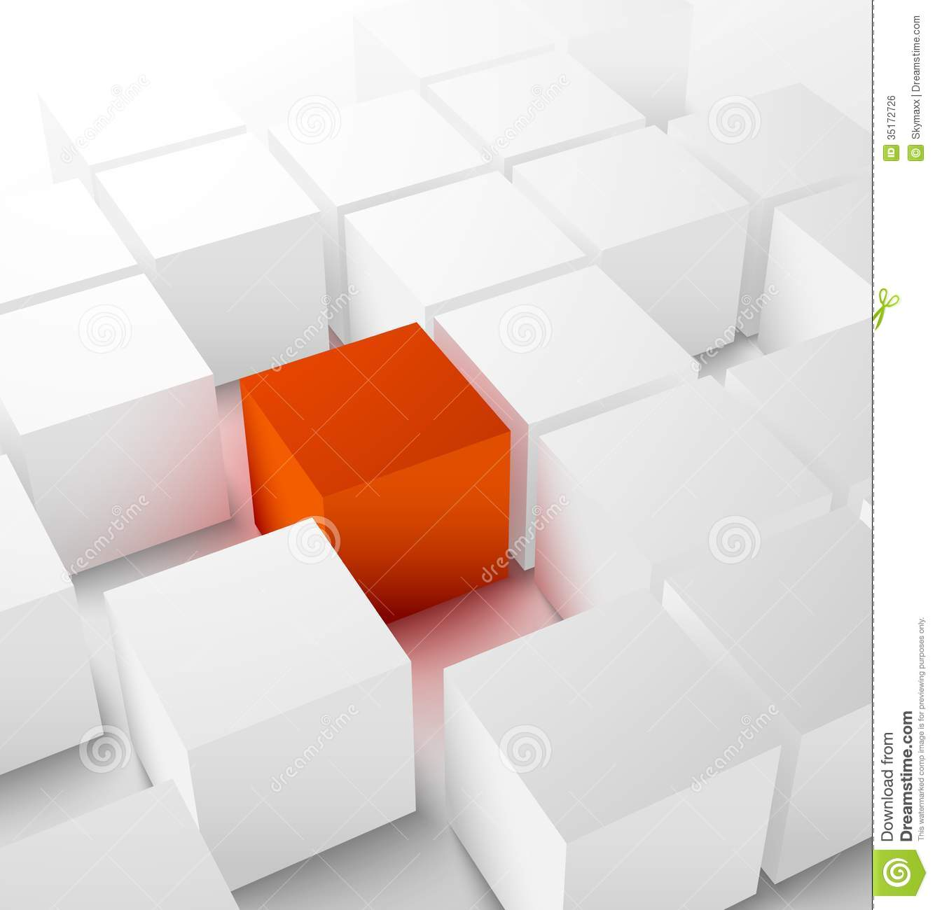Abstract 3D Cubic Background With Red Cube Royalty Free