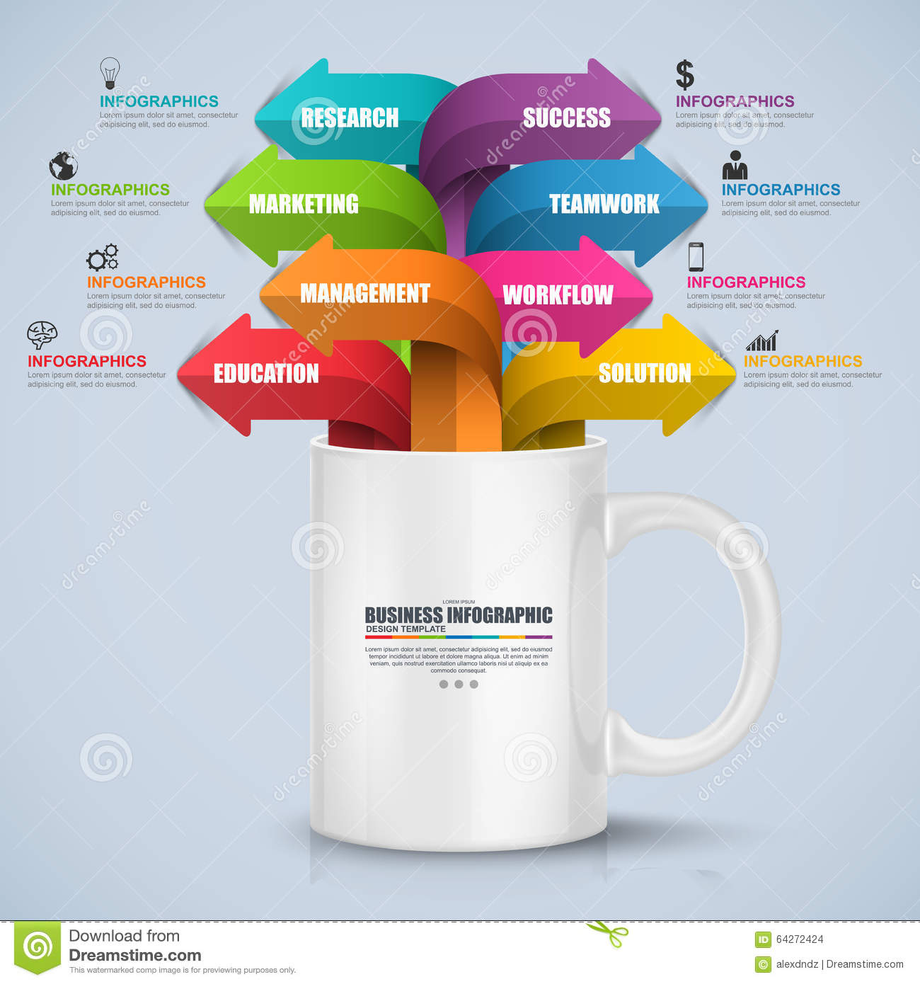 Abstract 3d Digital Business Process Infographic Stock