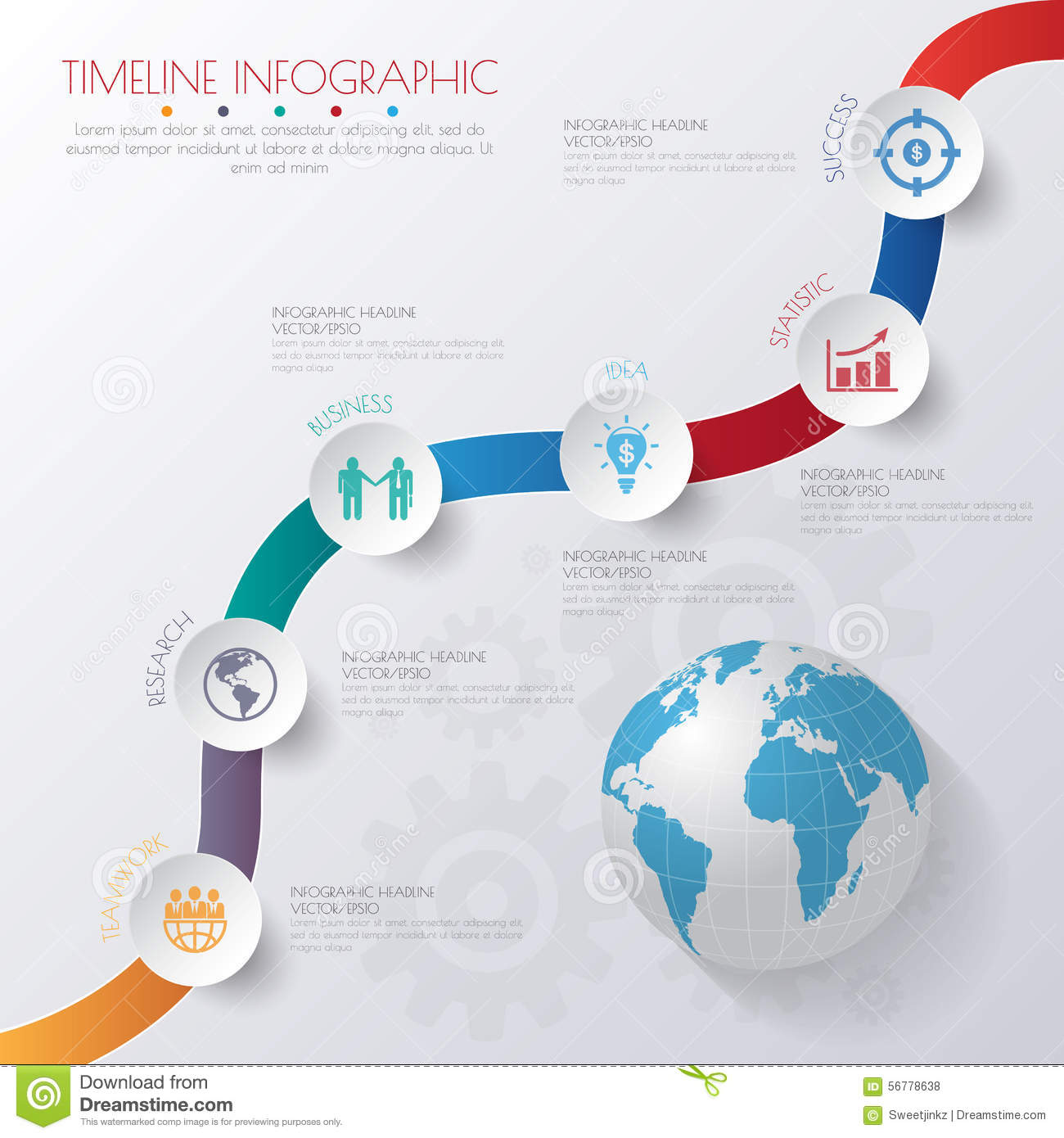Web Site Design Map: Abstract 3D Digital Illustration Infographic With World