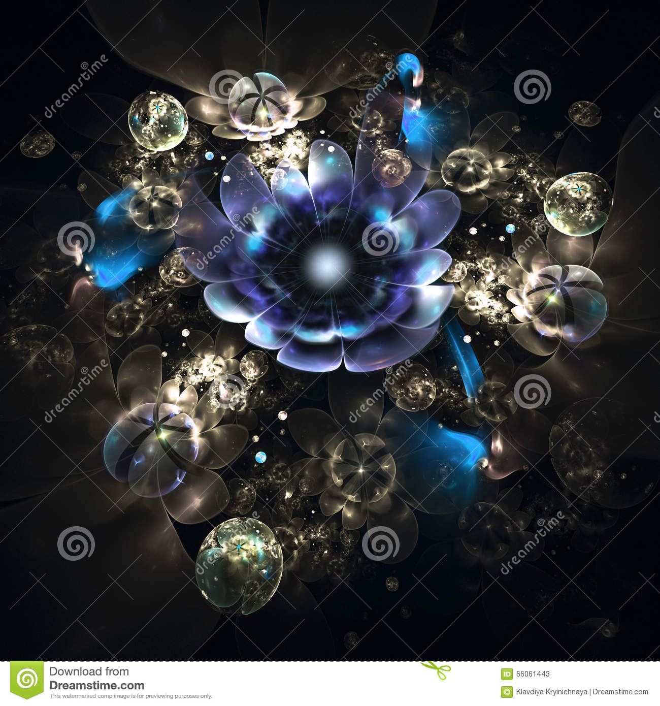 abstract 3d flowers on black background. stock image - image of