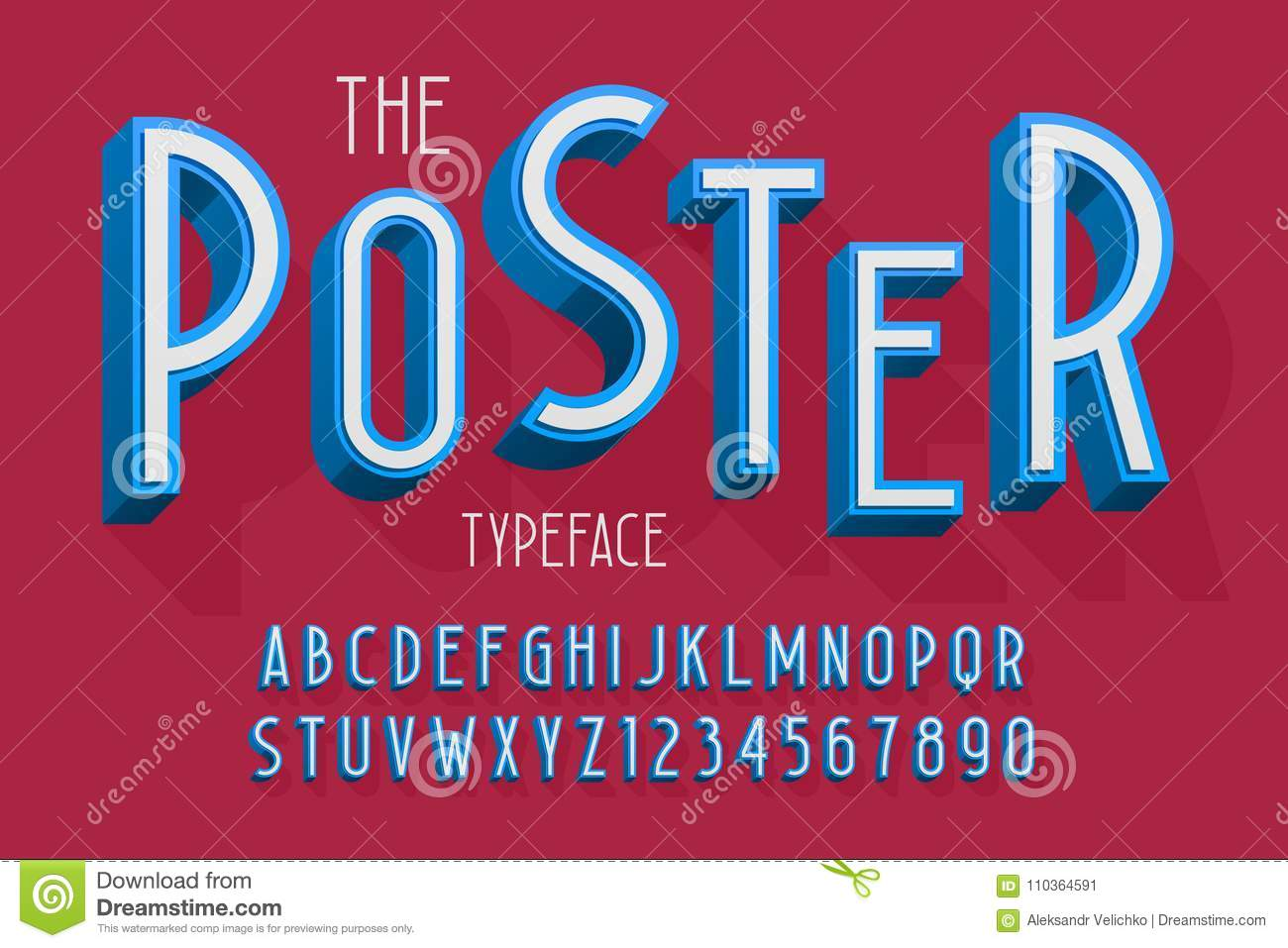 Abstract 3d Font, Letters And Numbers Vector Illustration