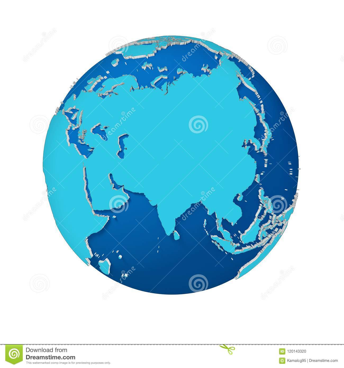 World Map 3d View.Abstract 3d Earth Isolated View Asia Stock Illustration