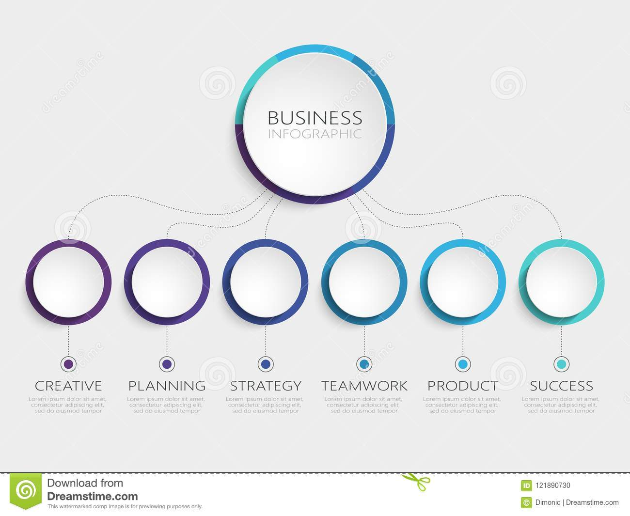 Abstract 3D Infographic Template With 6 Steps For Success Business Circle Options