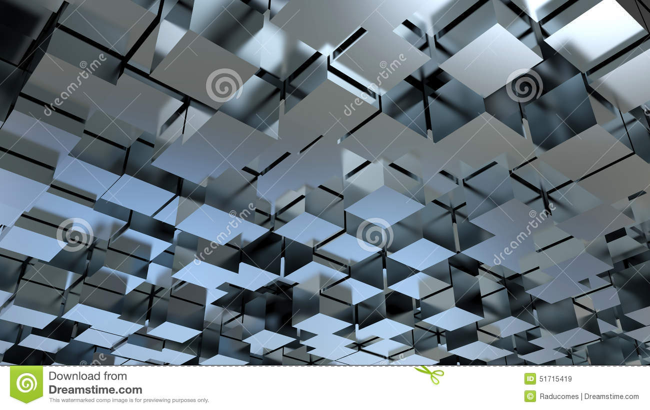 Abstract 3D metallic cubes background