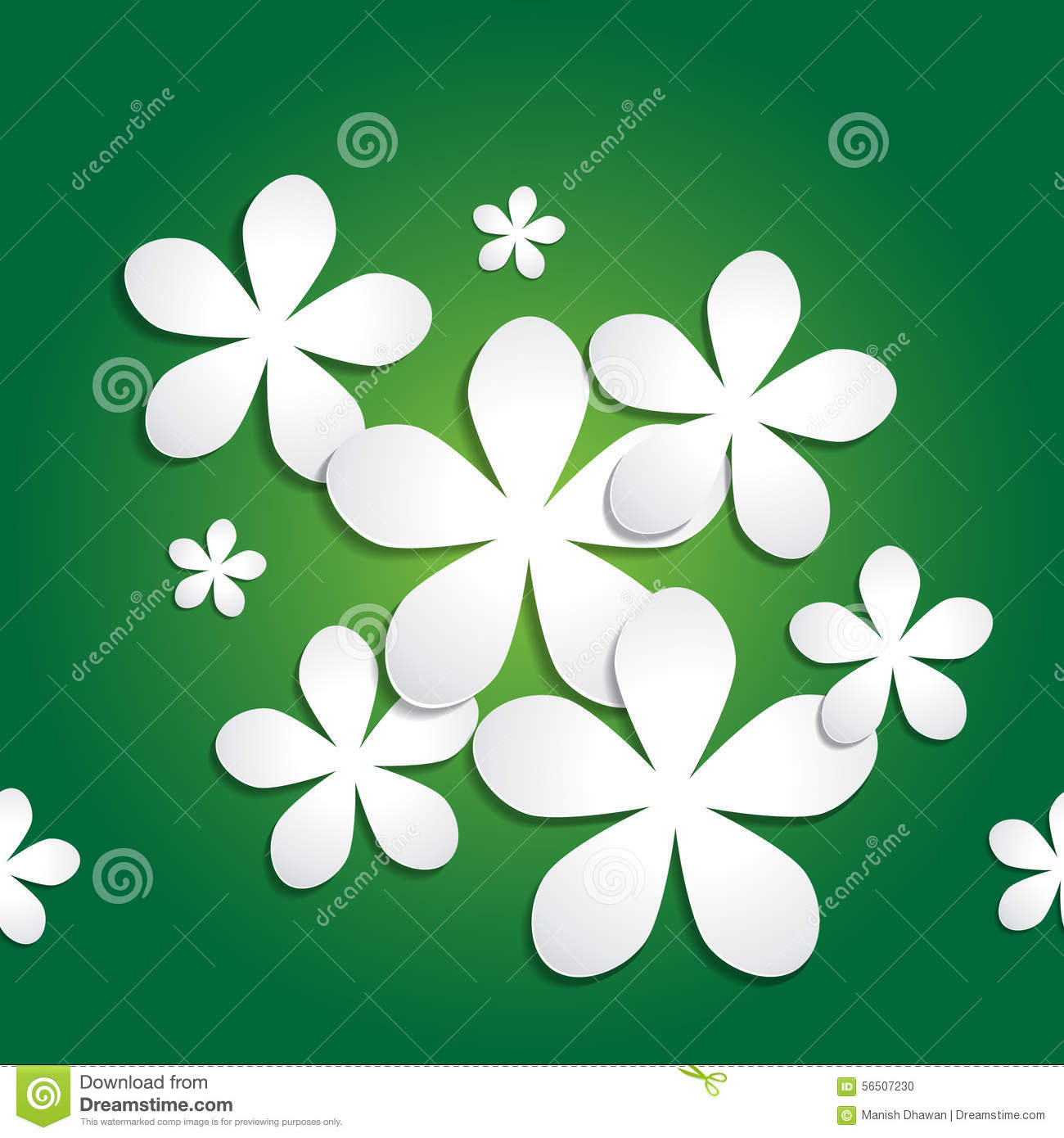 Abstract 3d Paper Flower Pattern On Green Background Stock Vector