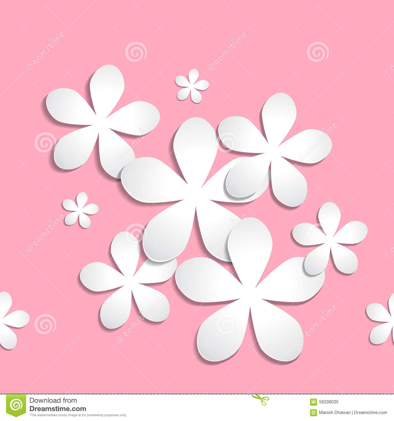 abstract 3d paper flower pattern pink background stock vector