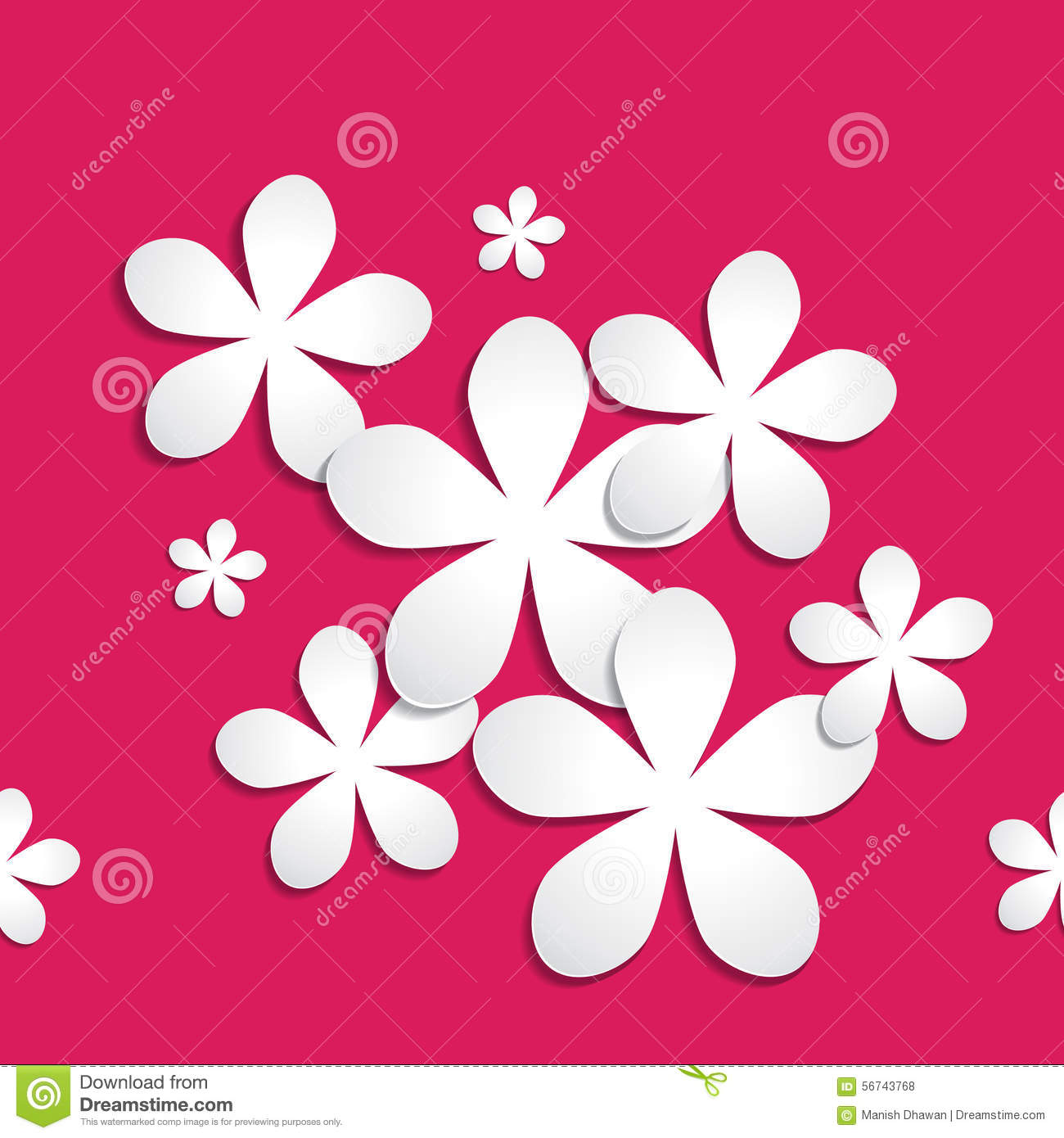 abstract 3d paper flower pattern on pink red background stock vector