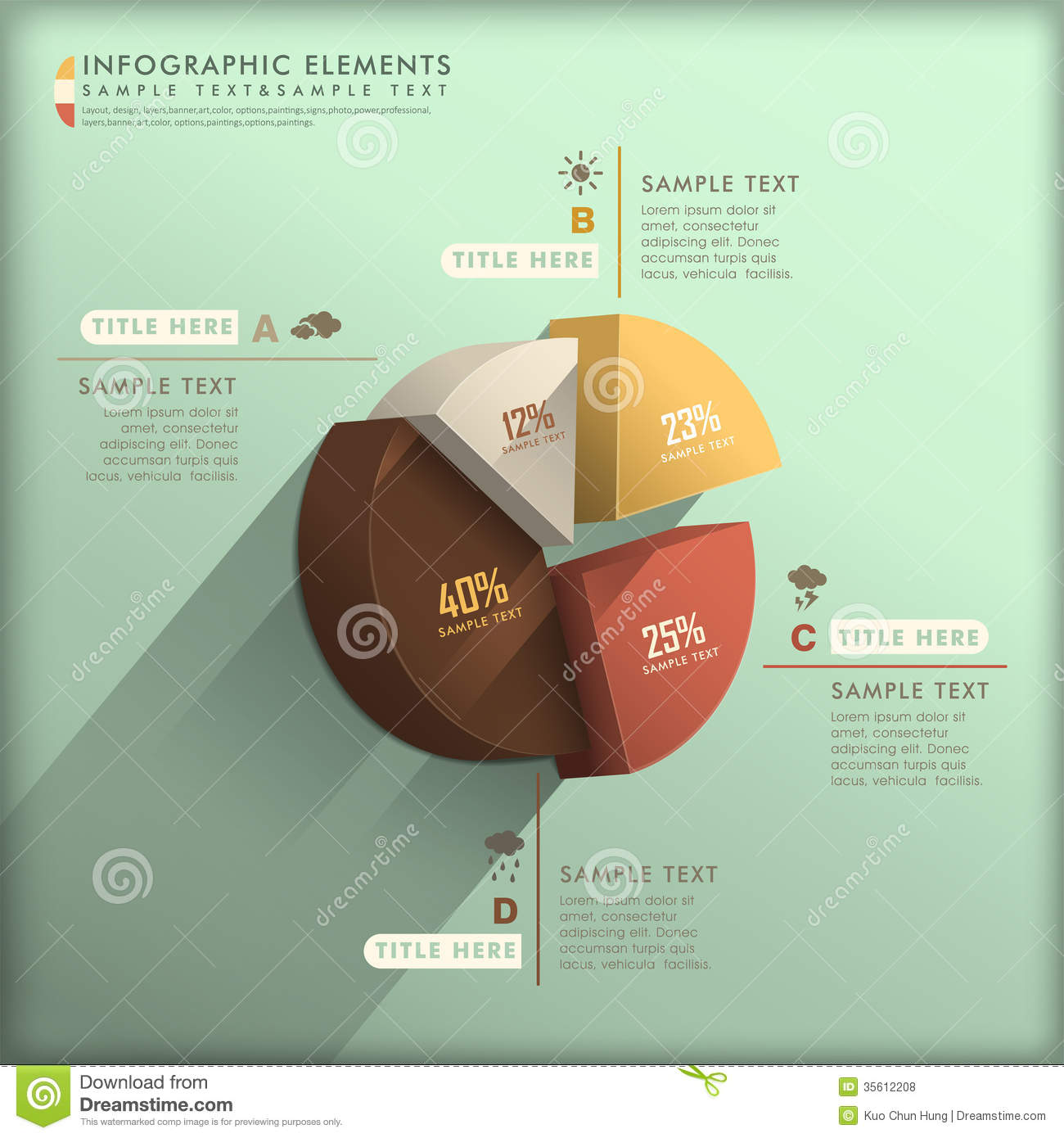 abstract 3d pie chart infographics stock vector illustration of