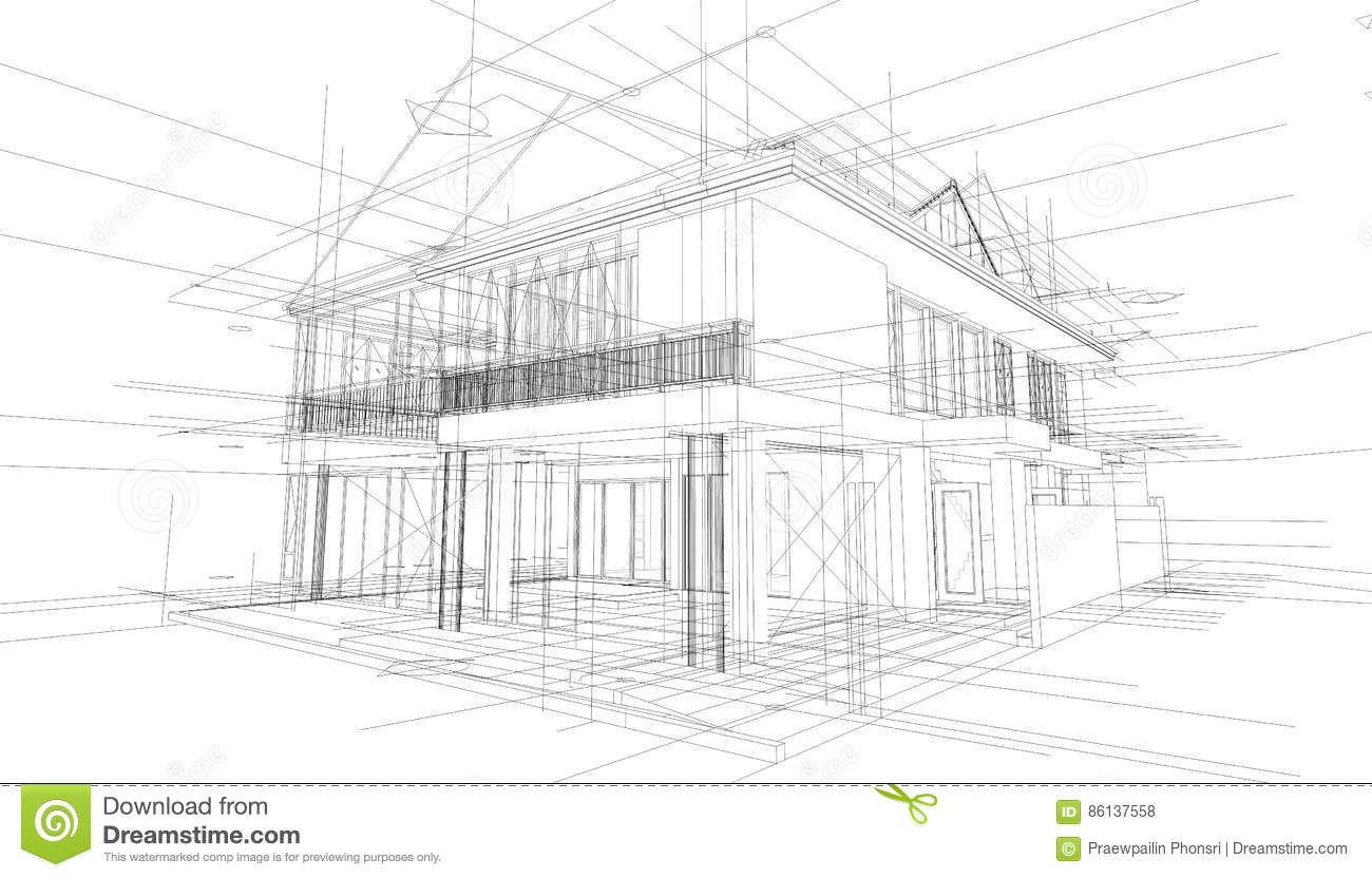 abstract 3d render of building wireframe structure stock