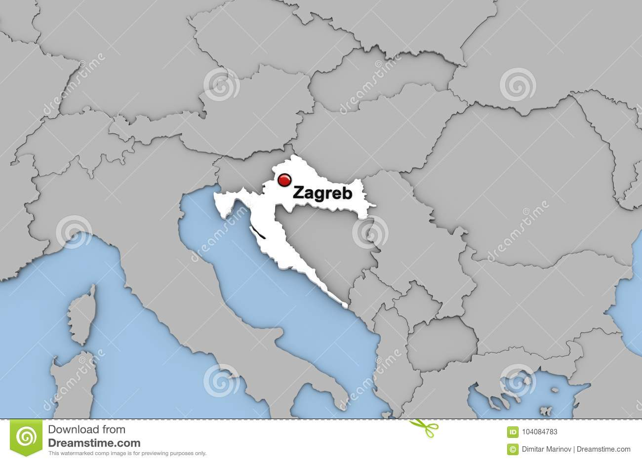 Abstract 3d Render Of Map Of Croatia Stock Illustration