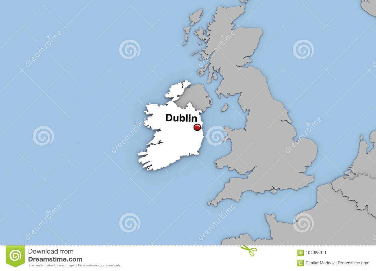 Abstract 3d Render Of Map Of Ireland Stock Illustration ...