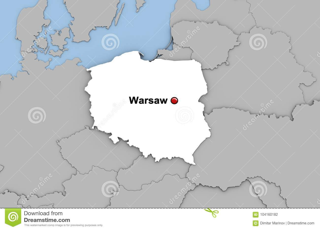Capital Of Poland Map.Abstract 3d Render Of Map Of Poland Stock Illustration