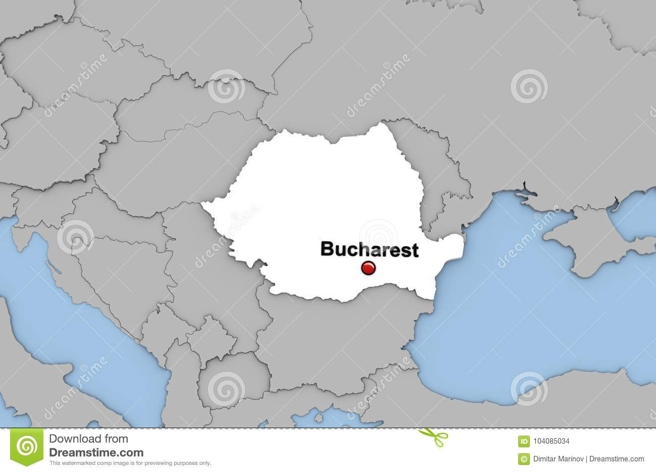 Abstract 3d Render Of Map Of Romania Stock Illustration ...