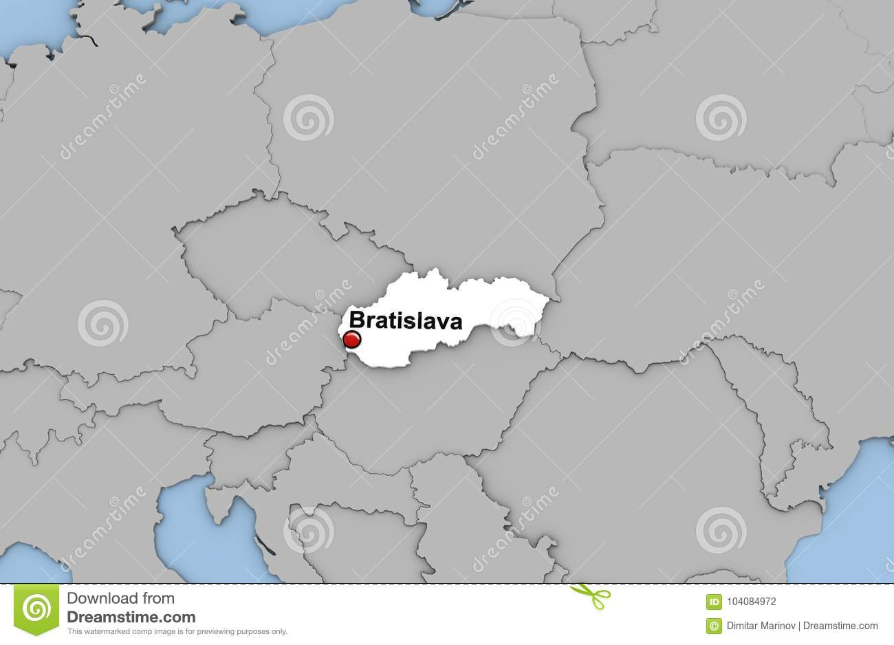 Abstract 3d Render Of Map Of Slovakia Stock Illustration ...