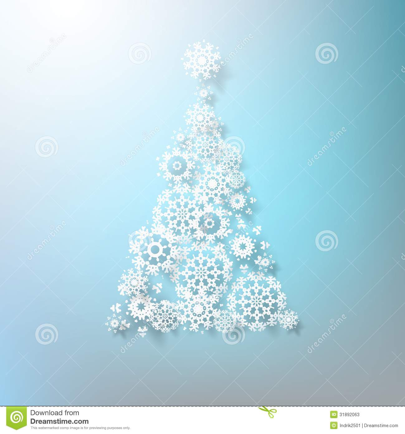 Abstract 3D Snowflakes Christmas Tree EPS 10 Stock Vector