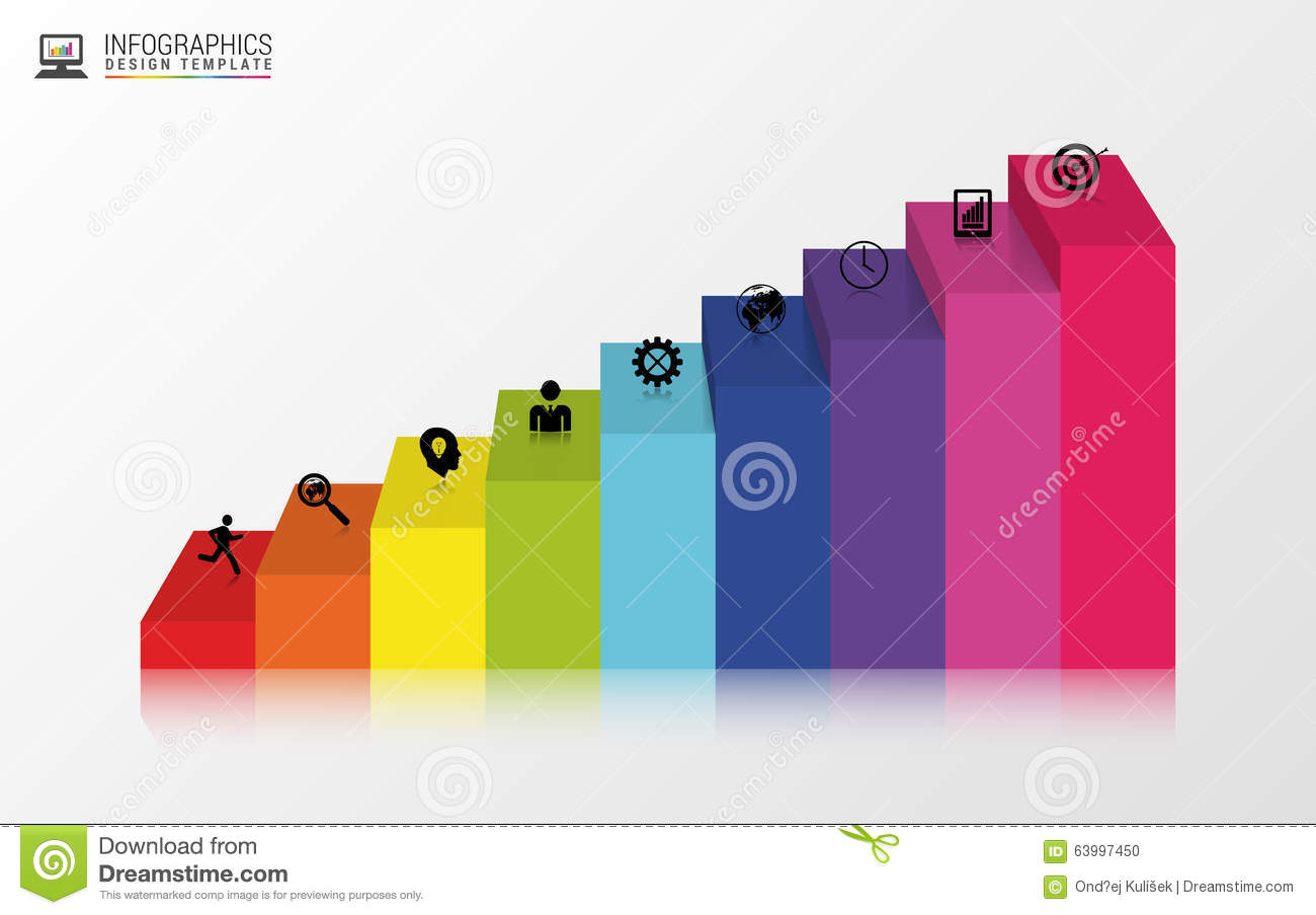 abstract 3d stairs infographics or timeline design template vector