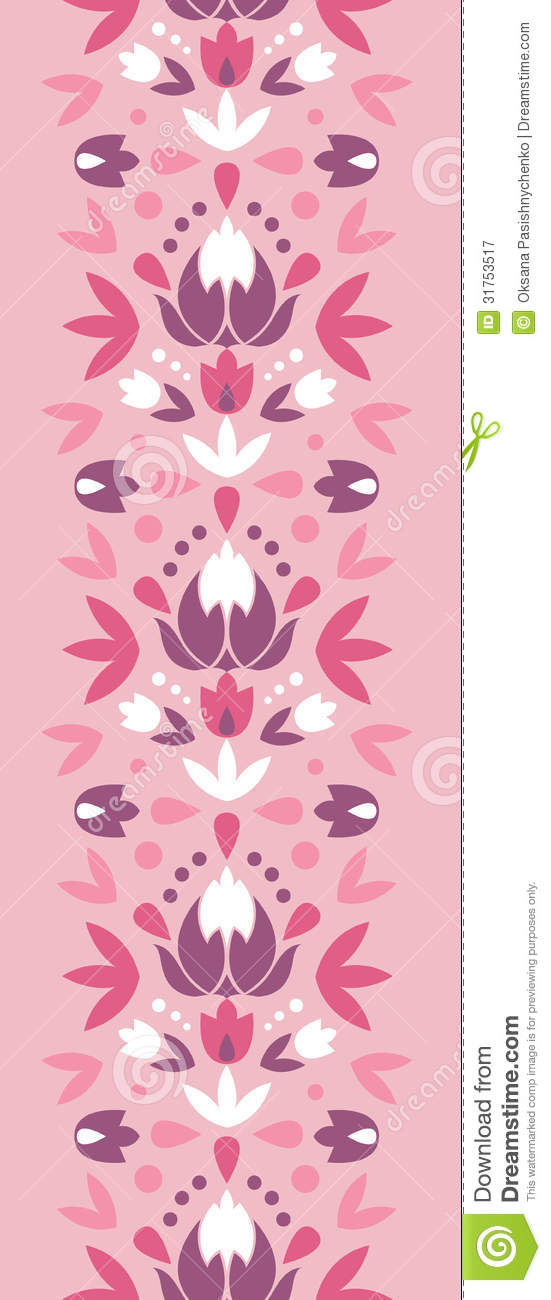 Vertical Flower Pattern Abstract Damask...