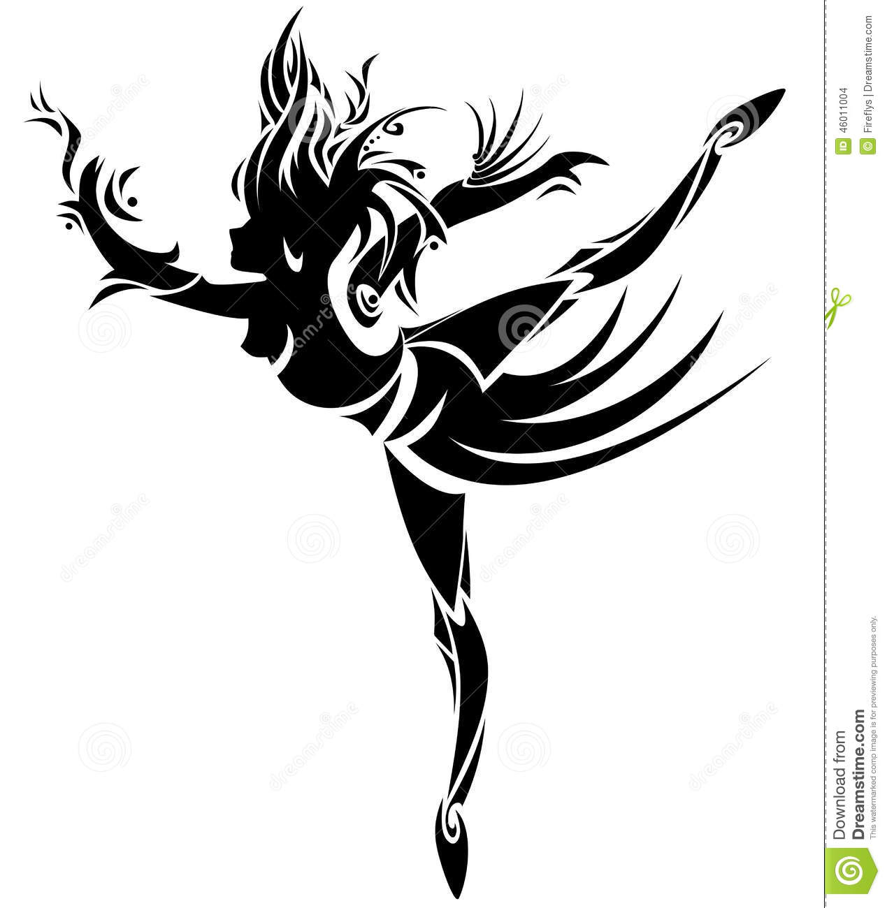 dfc1c7ae6 Abstract dancing girl in tattoo style. Vector. Designers Also Selected  These Stock Illustrations