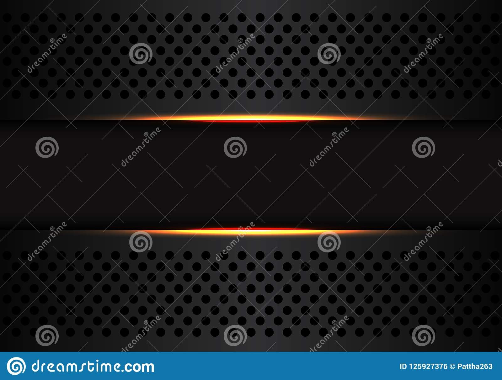 Technology Background With Circular Mesh: Abstract Dark Gray Banner On Black Circle Mesh With Yellow