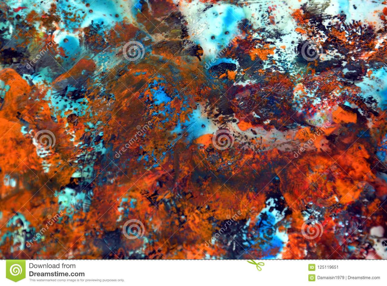 Abstract Dark Orange Blue Paint Background Painting