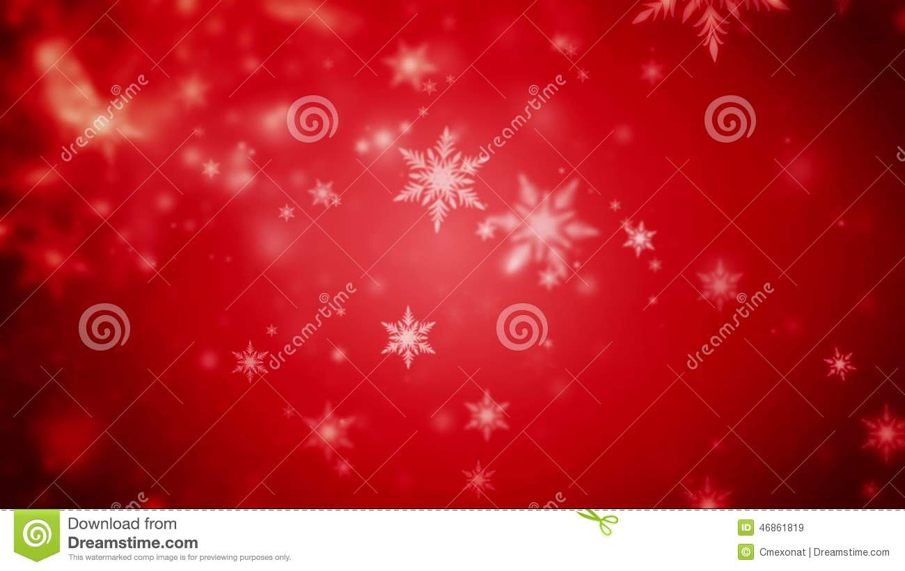 Abstract Dark Red Christmas Background Of Defocused Snowflakes Stock