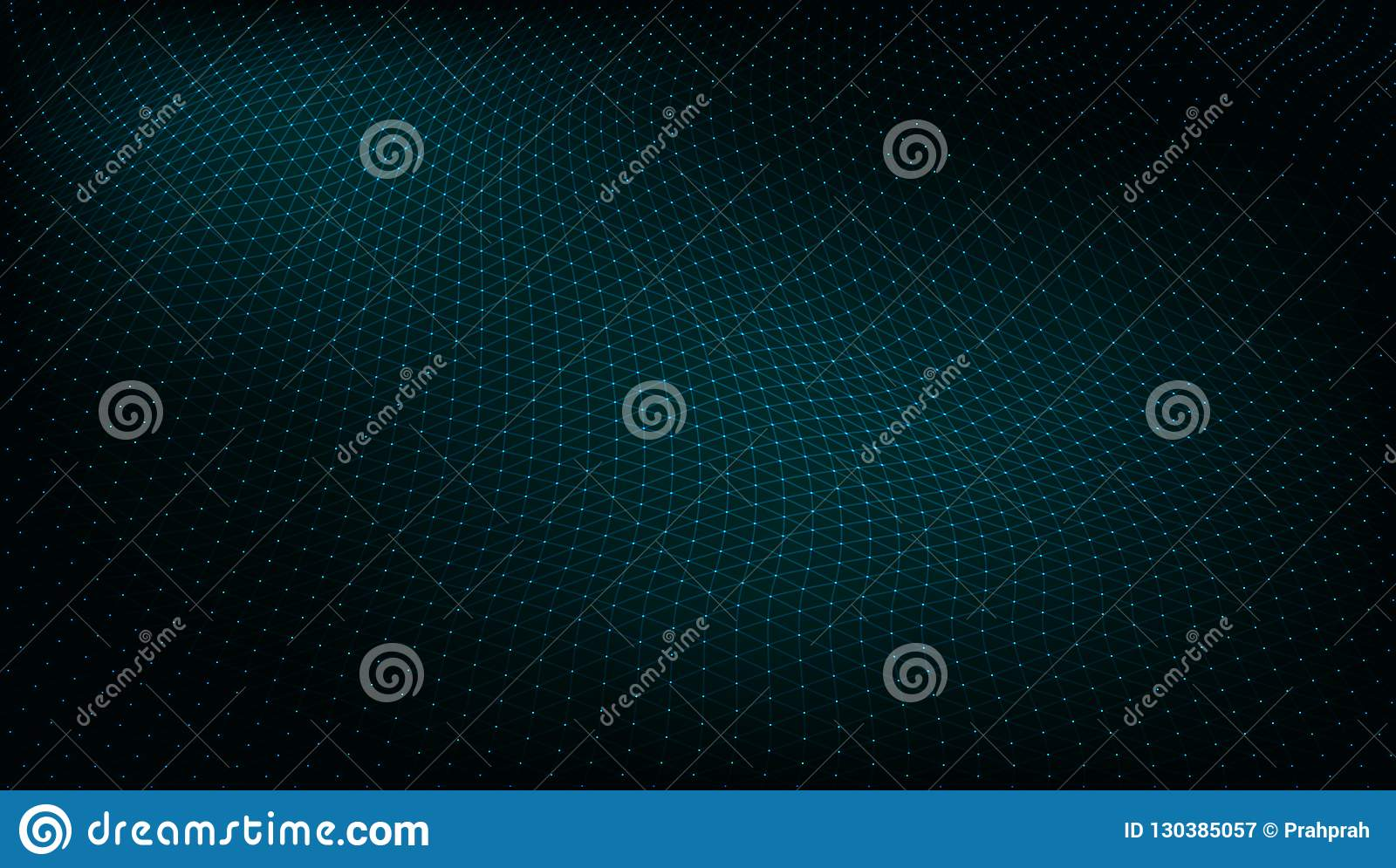 Abstract Dark Techno Low Poly Space  Dots And Lines Stock