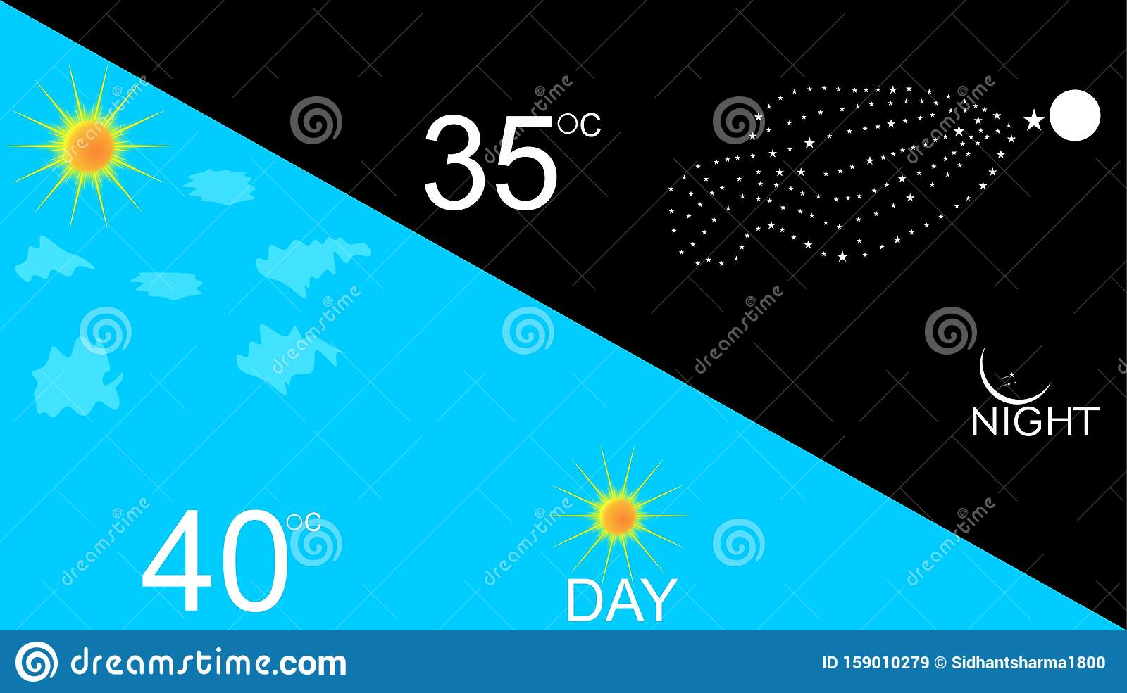 Abstract Day and night vector illustrations background