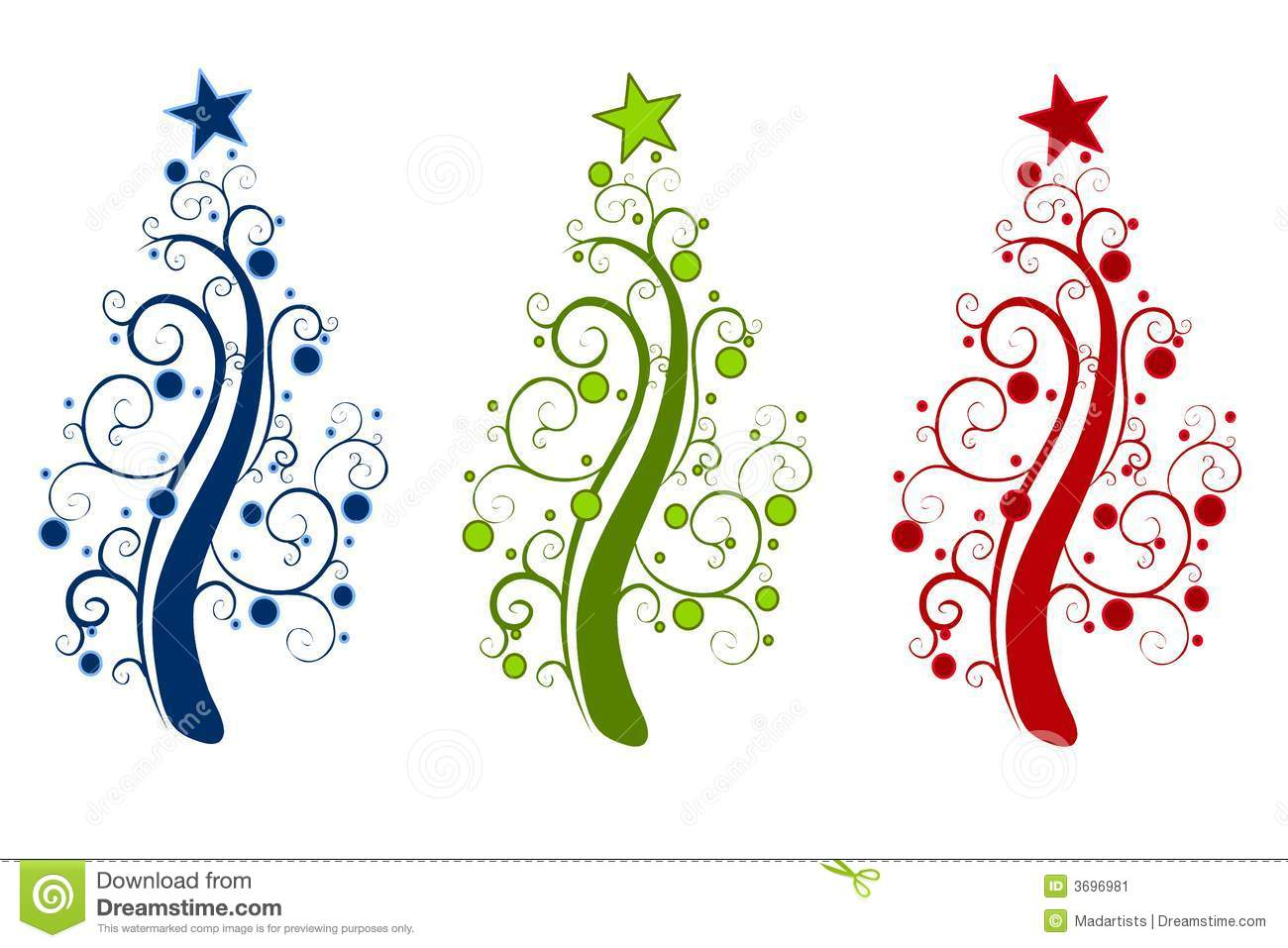 clip art illustration featuring your choice of 3 abstract Christmas ...