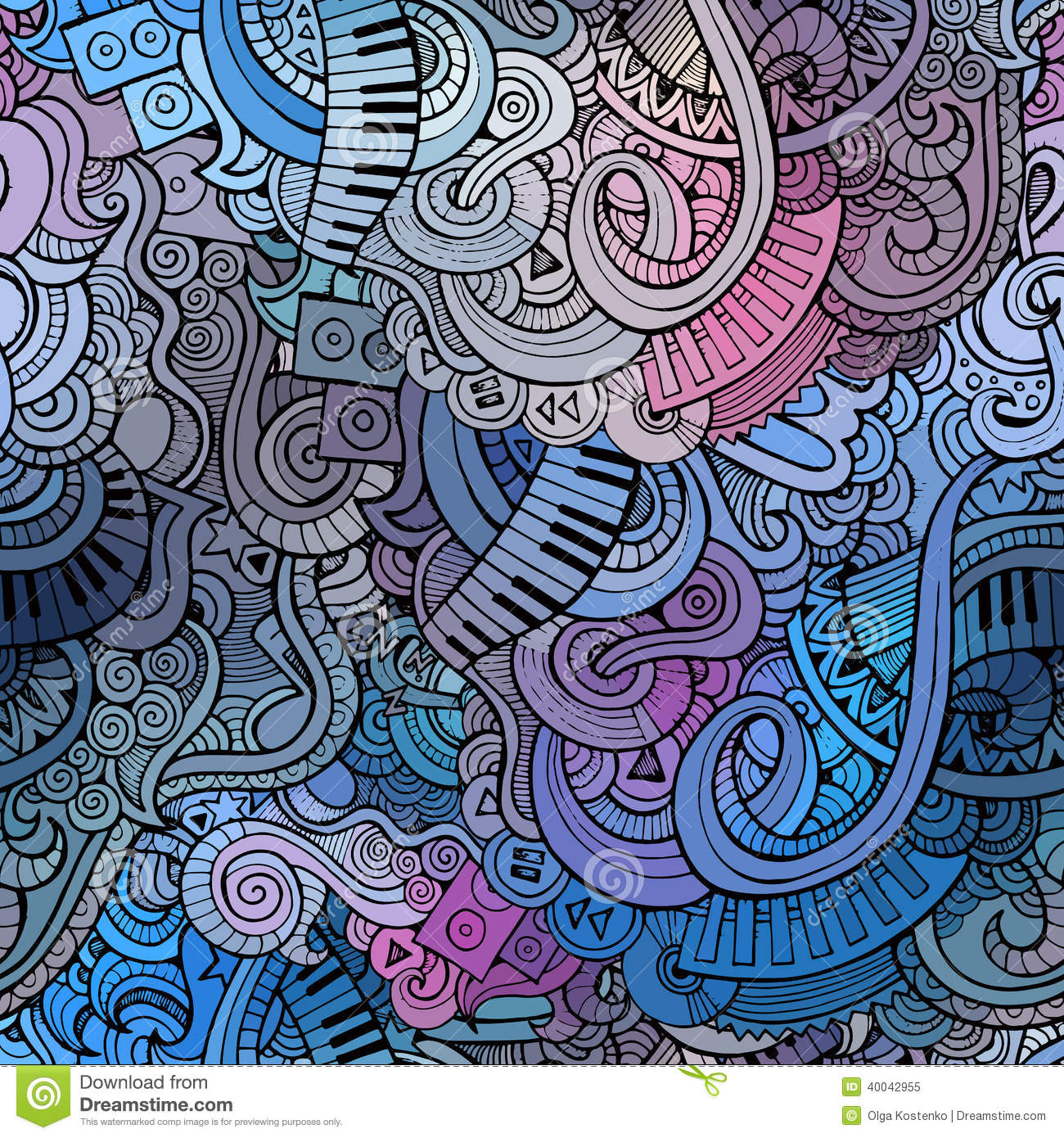 Royalty Free Stock Photo Abstract Decorative Doodles Music