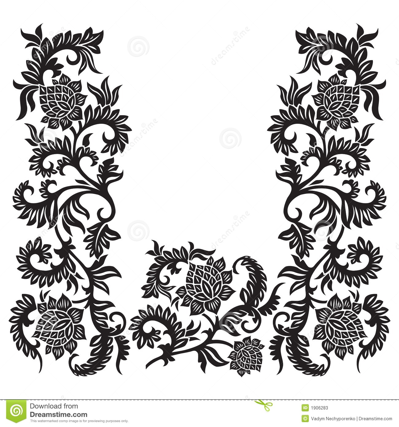 abstract decorative ornament with flower vector. Black Bedroom Furniture Sets. Home Design Ideas