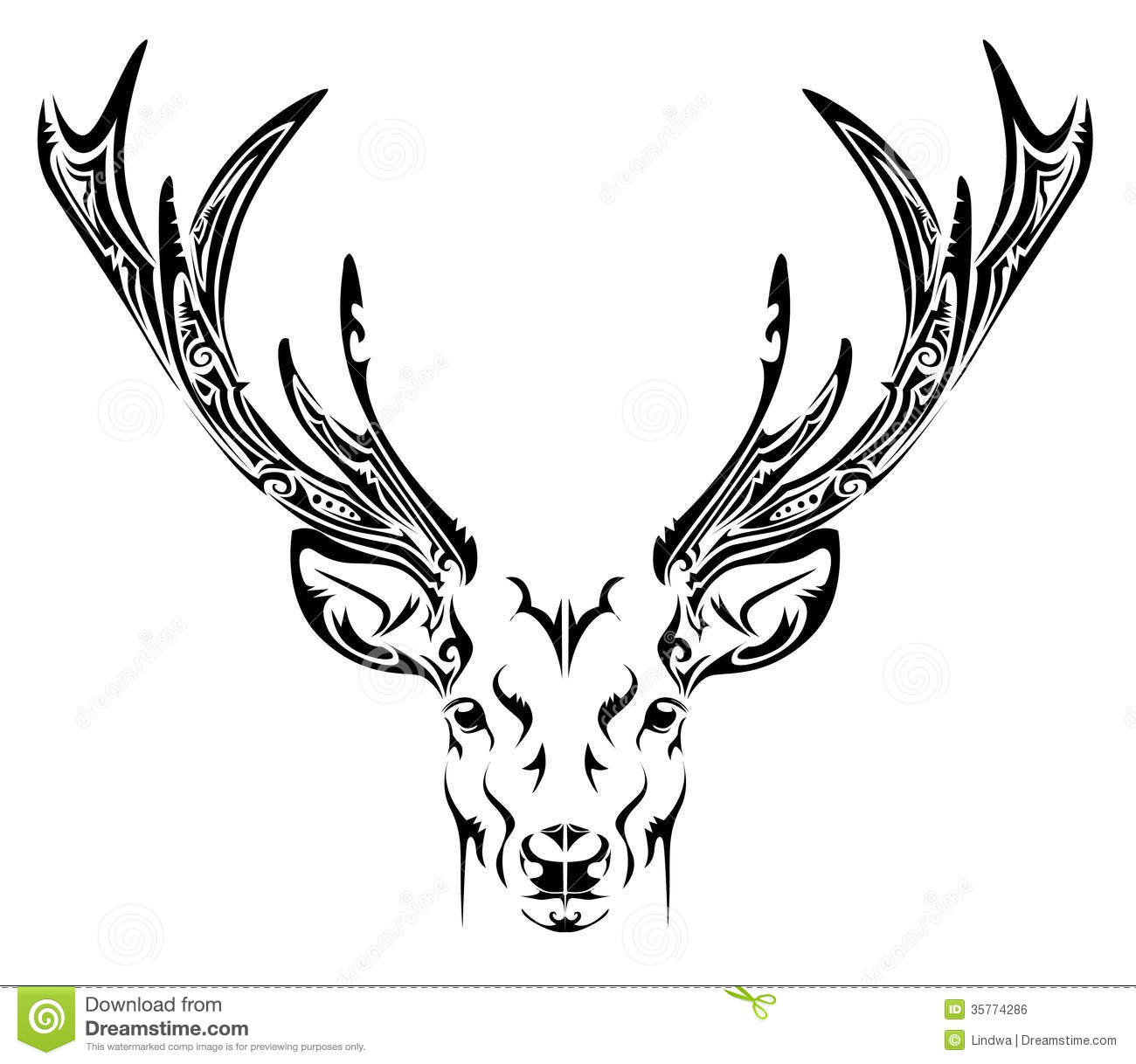 Abstract Face Line Drawing : Abstract deer head tribal tattoo stock vector