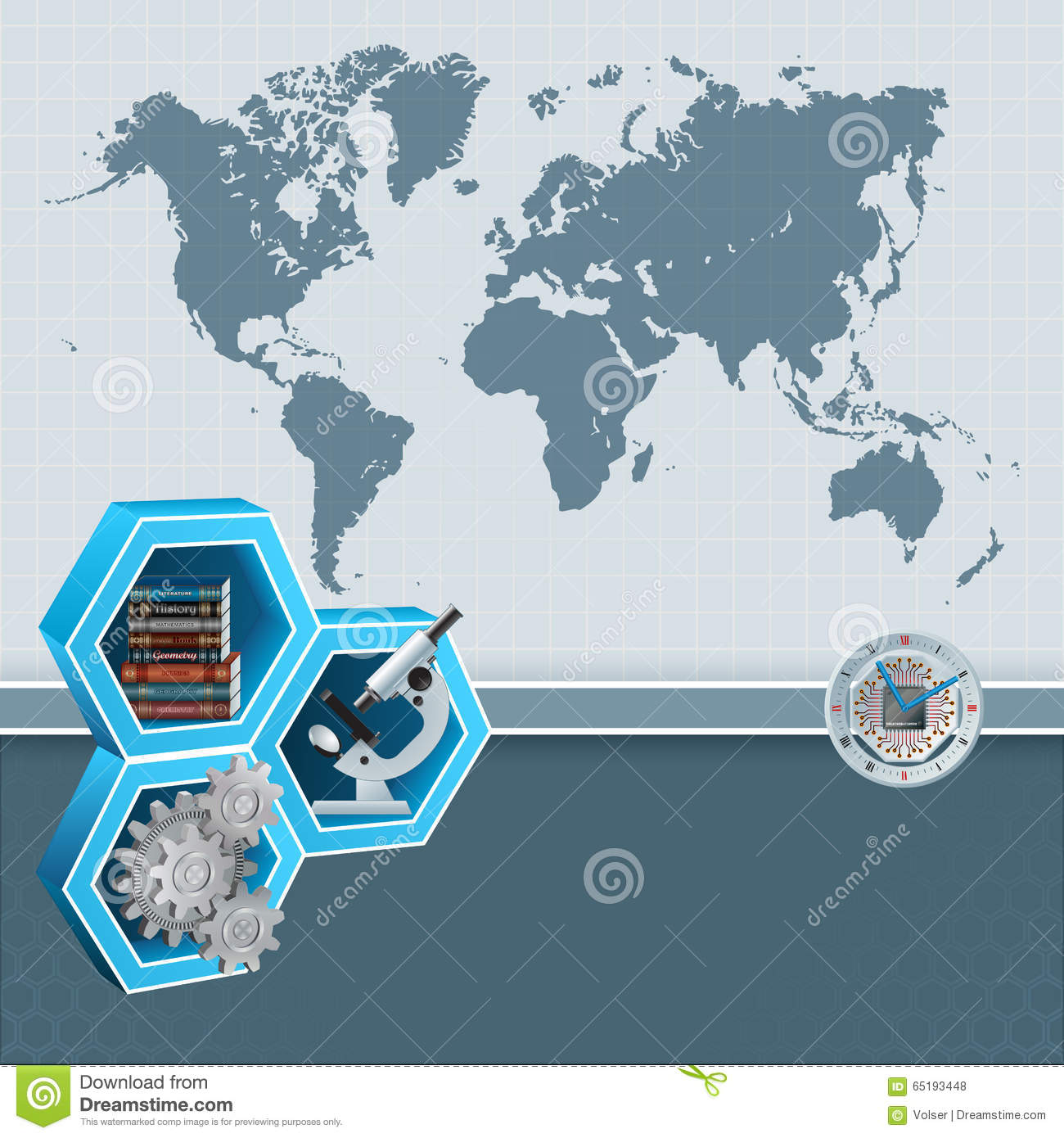 Study World Map.Abstract Design Background With World Map And Knowledge Translation