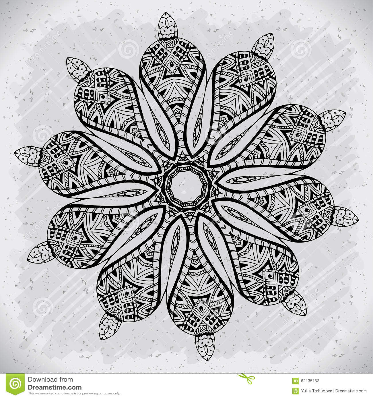 Abstract Design Black White Element Round Mandala In Vector Graphic Template For Your