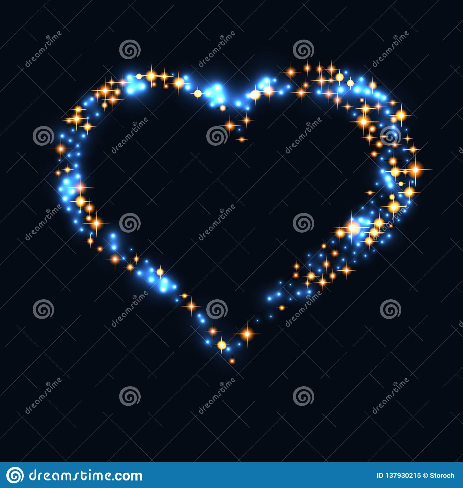 Abstract design - blue glitter particles in heart shape. Glowing sparkling particles on dark background