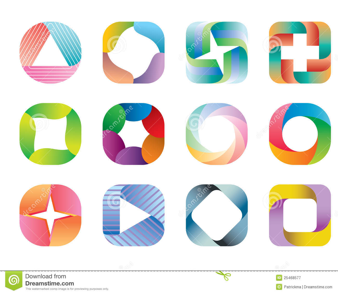 Abstract Design Element Set Shape Square Stock Vector