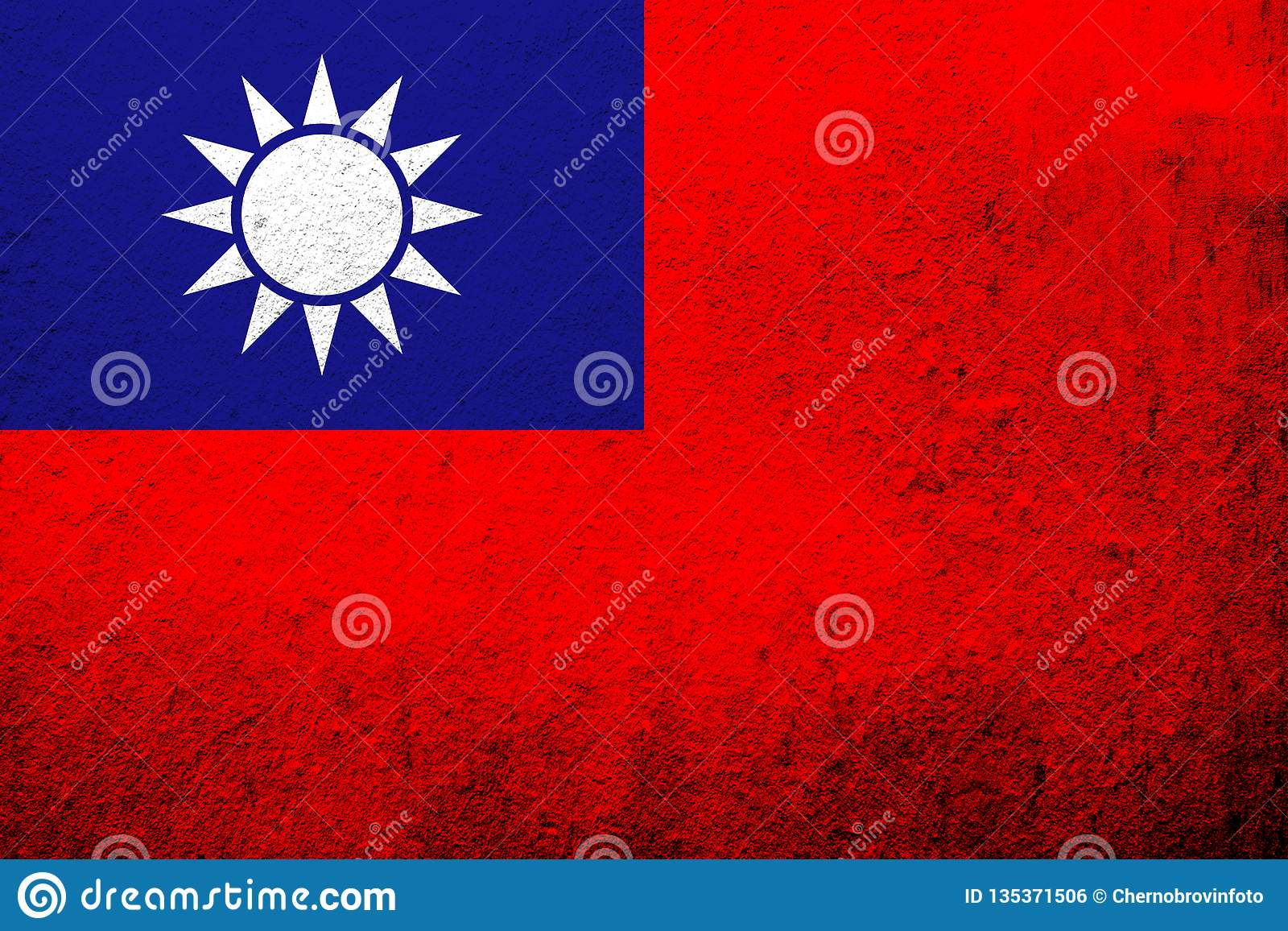 The Republic of China Taiwan National flag `Blue Sky, White Sun, and a Wholly Red Earth`. Grunge background