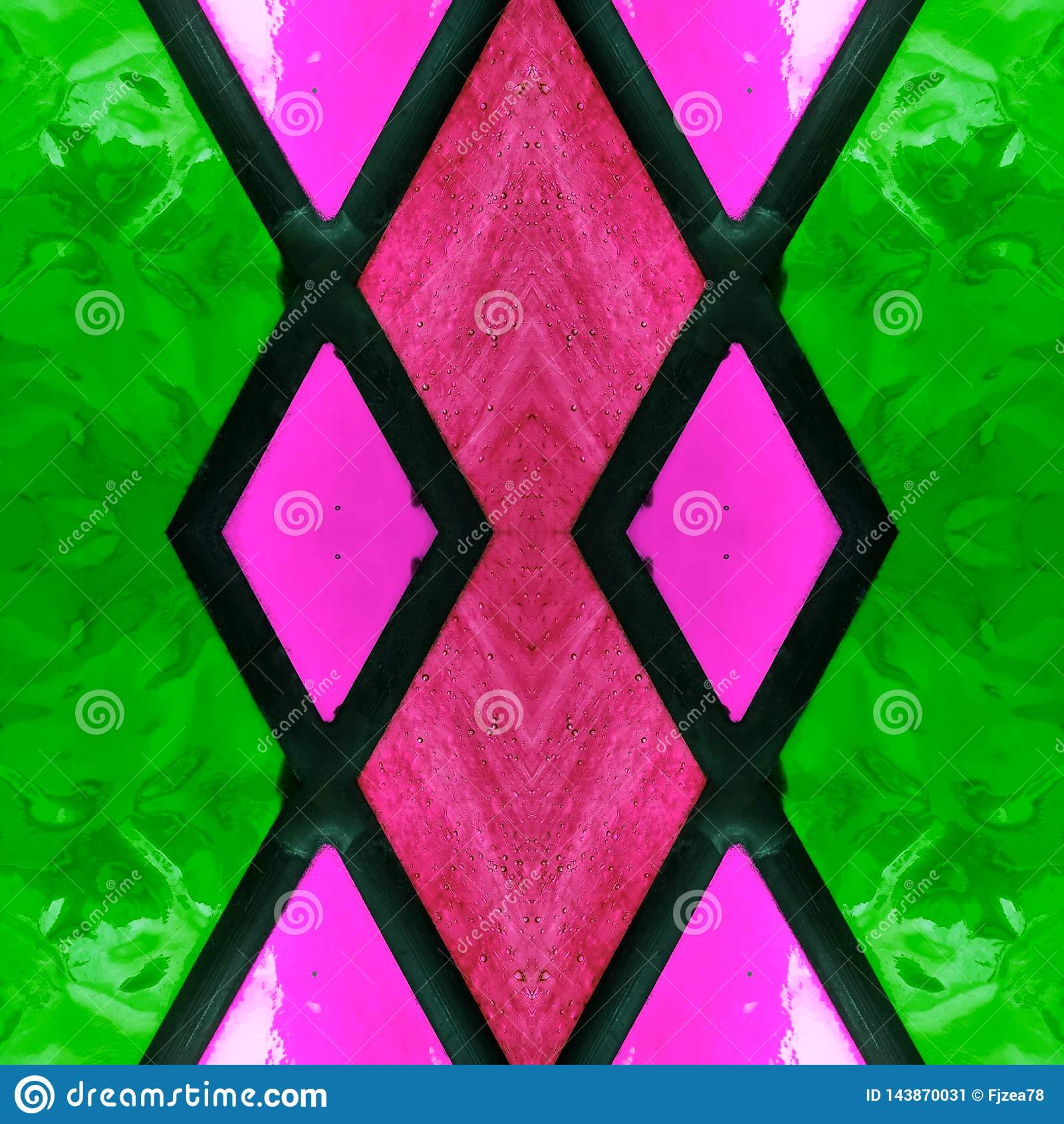 Abstract Design With Stained Glass In Green Pink And Red Colors Background And Texture Stock Illustration Illustration Of Geometric Simple 143870031