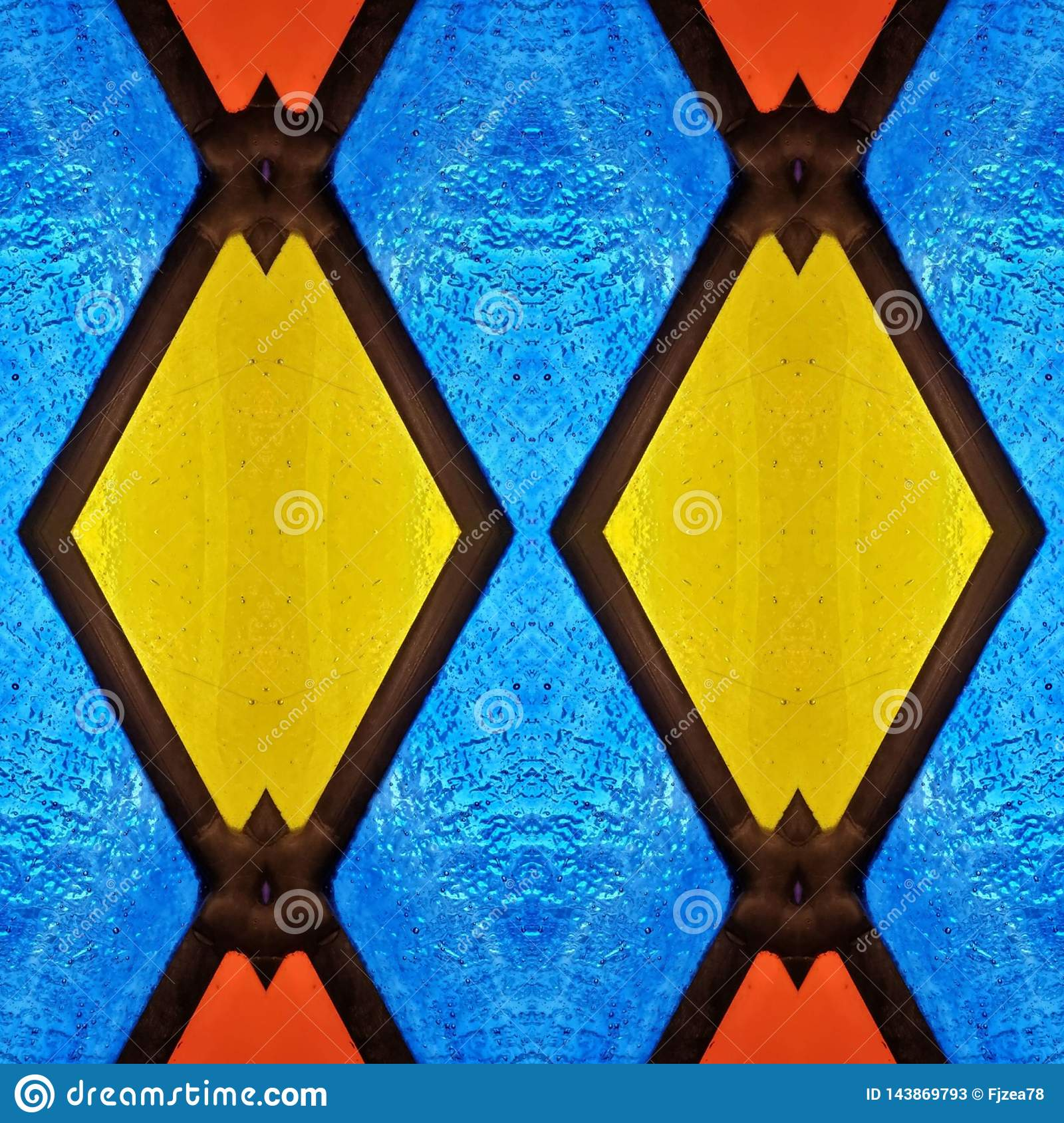 abstract design with stained glass in red, blue and yellow colors, material for decoration of windows, background and texture