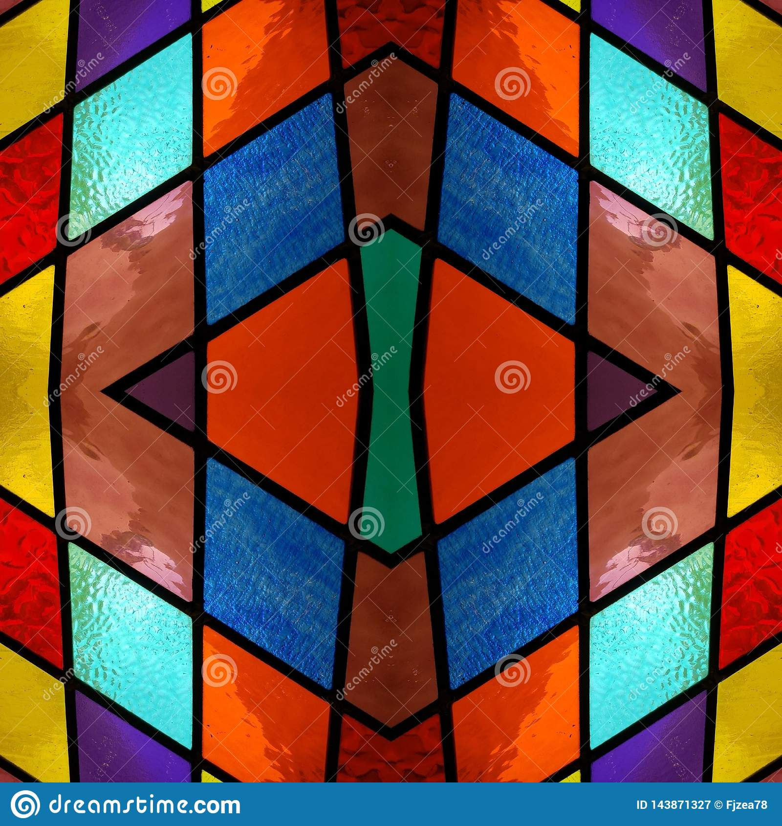 Abstract Design With Stained Glass In Various Colors