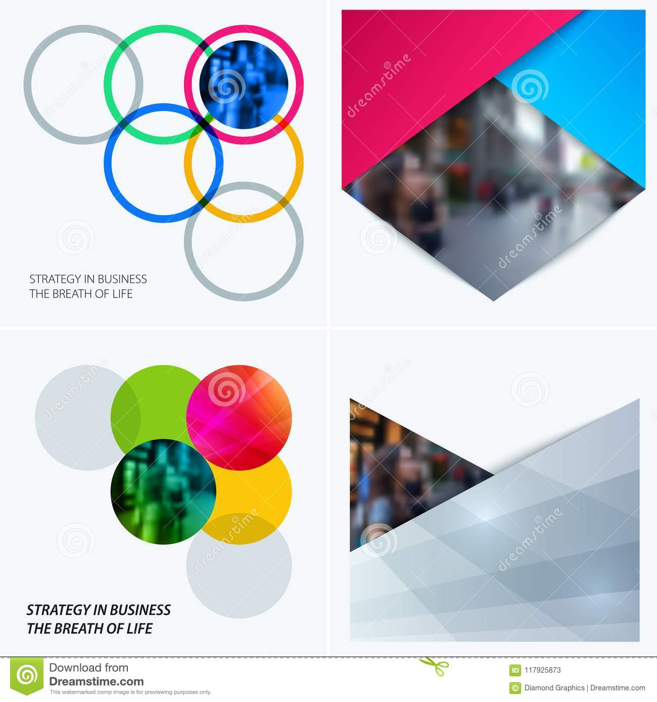 Abstract design of colourful vector elements for smooth background with round shapes rinds for business partnership
