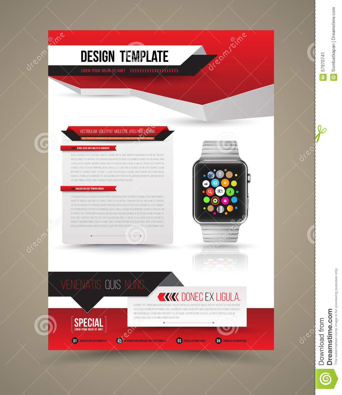 abstract design vector template layout with smart watch