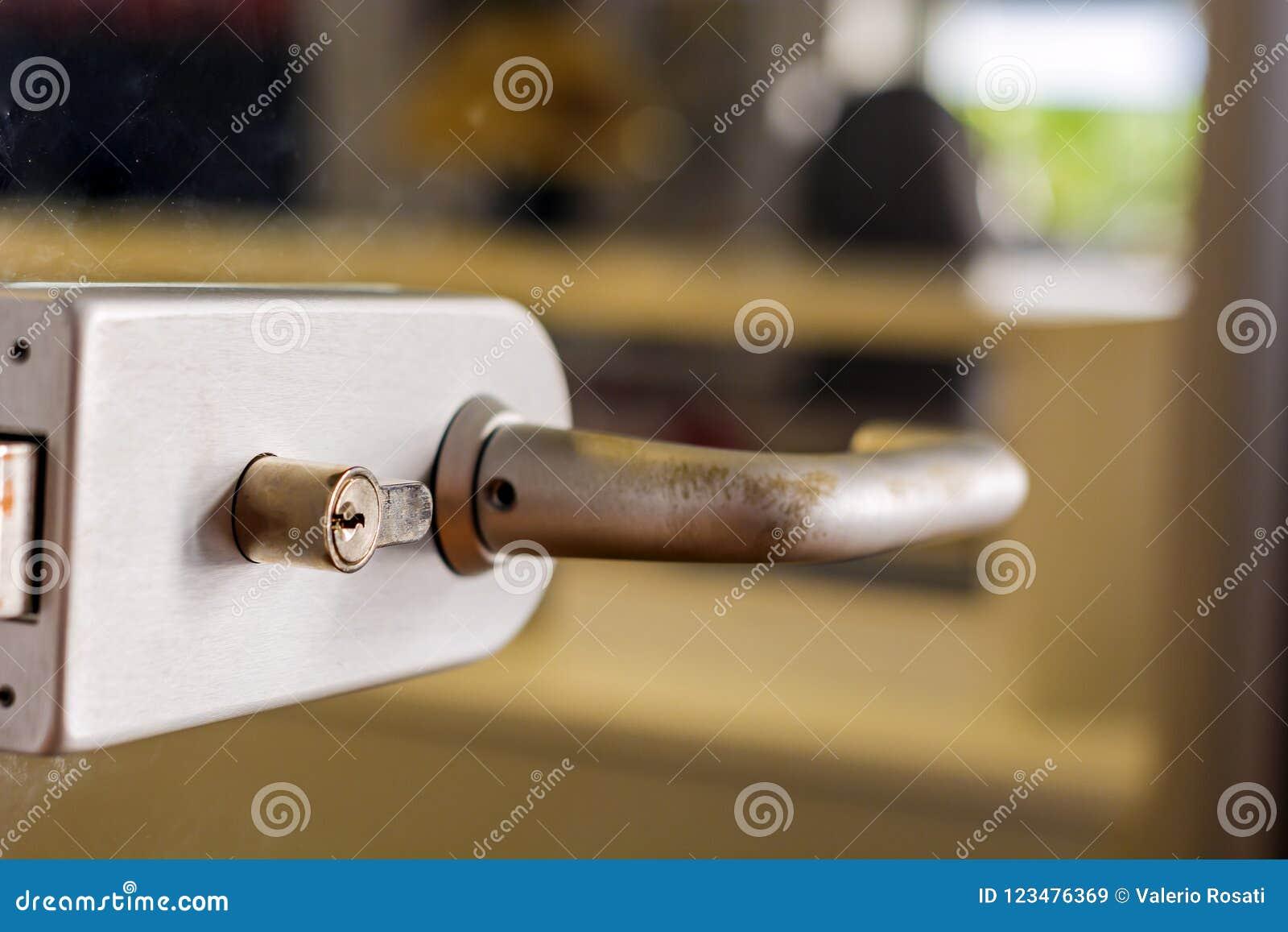 Contemporary Door Handle For A Glass Door Stock Image Image Of