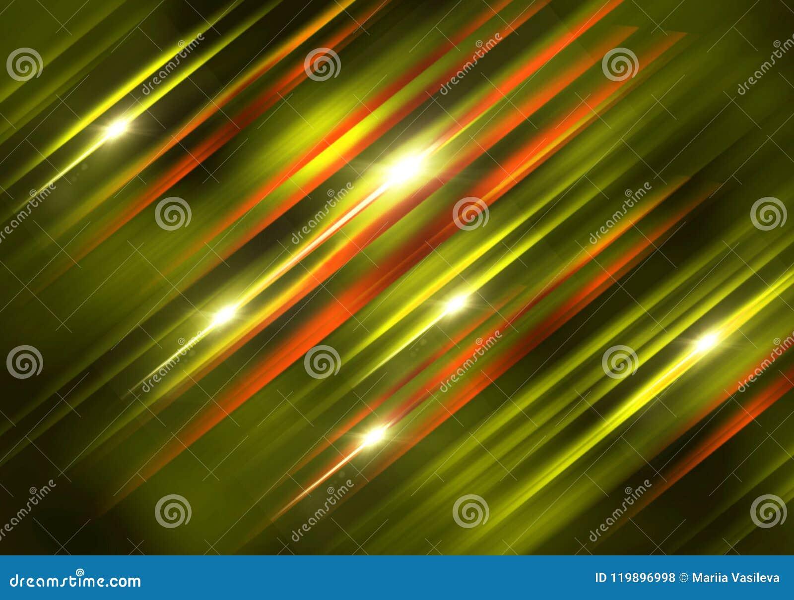 Abstract Diagonal Background Green Orange Yellow On Black, Gli Stock ...