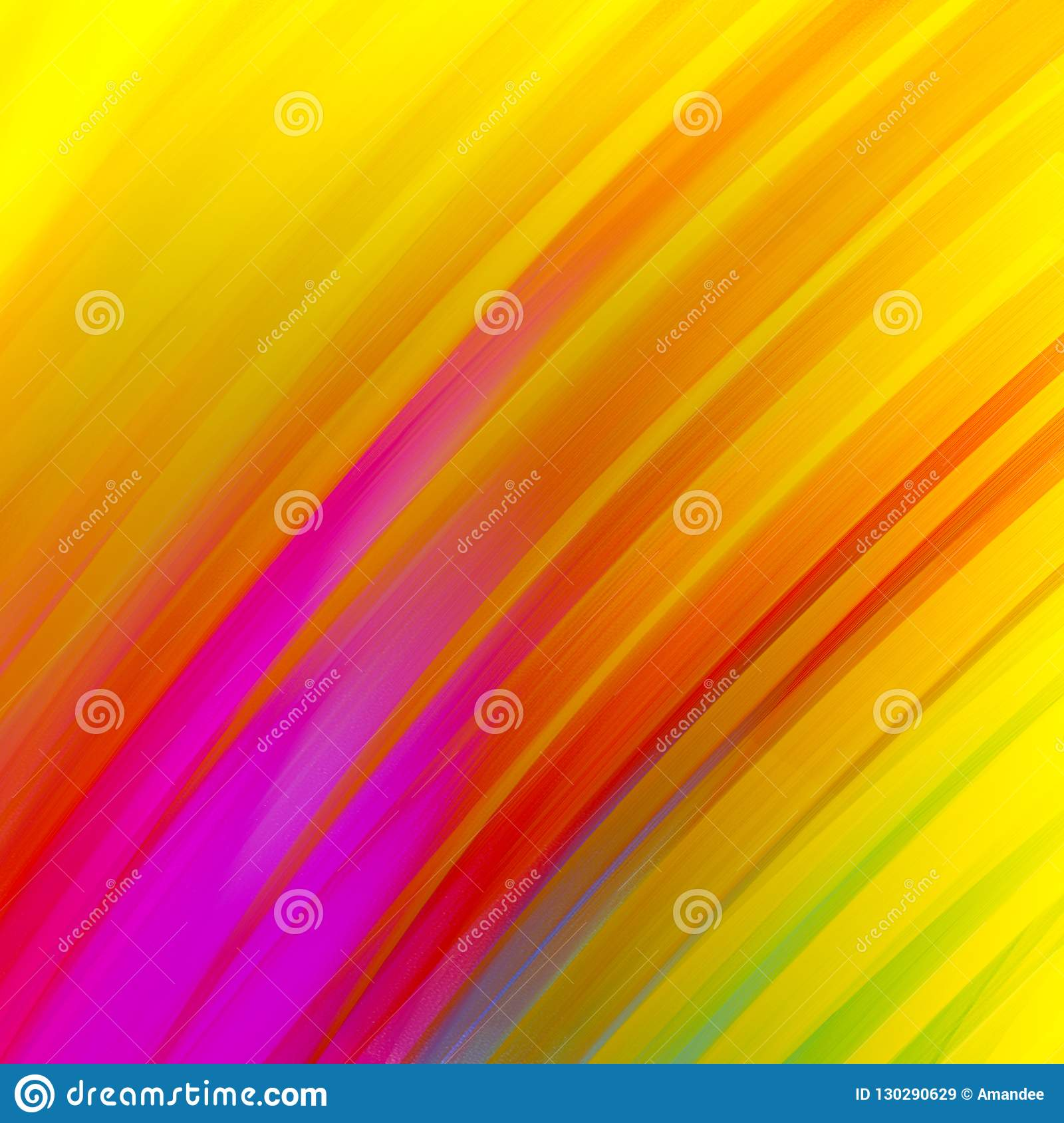 Abstract diagonal stripes in bold gold purple red blue green and pink on yellow background, dramatic glowing colorful lines in cor