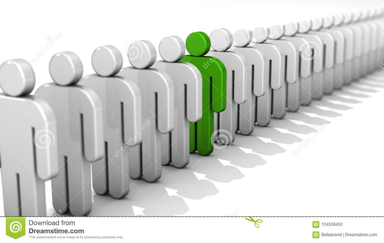 Abstract difference and individuality, uniqueness and leadership business concept, single green 3D people figure in row of white f
