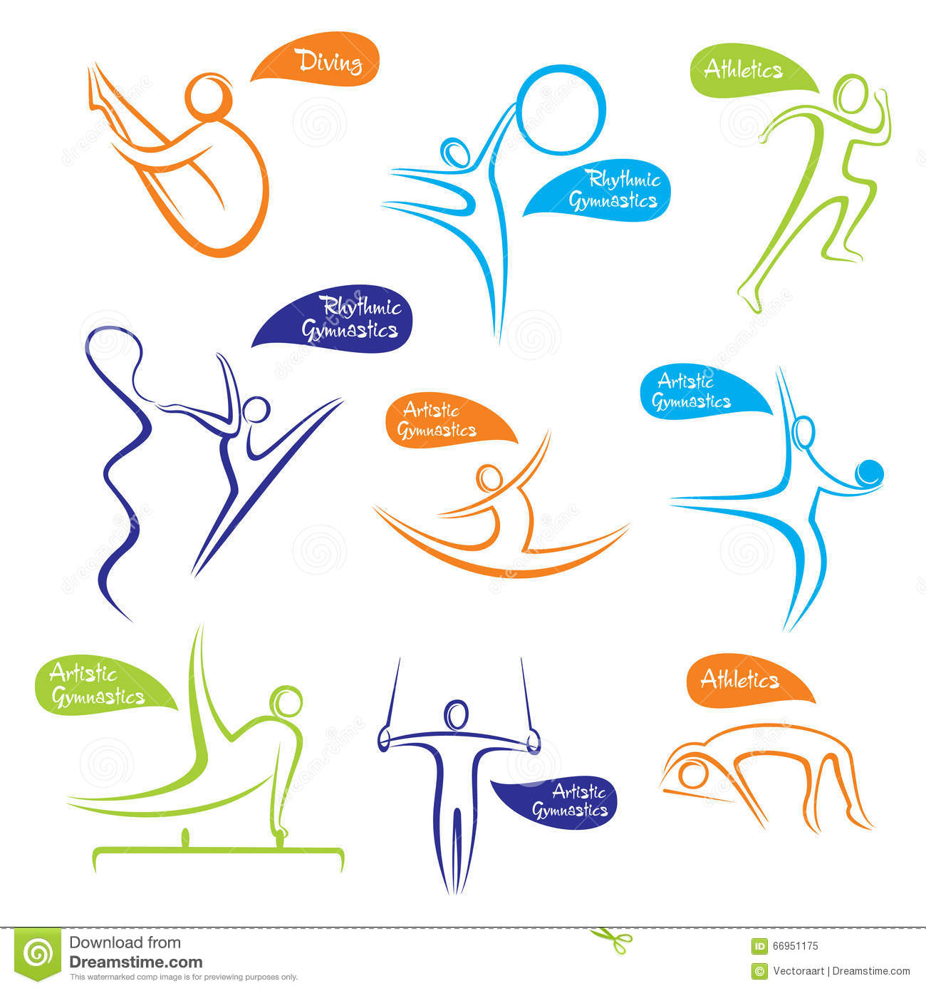 Abstract Different Sports Symbol Design Stock Vector Illustration